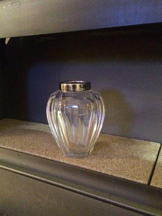 Kleine Glasvase Mit Silbermontur 925 Sterling Bild