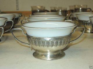 Nachlass: 6 Stück Alte Silbertassen Mit Porzellan,  Sterling Silber, Bild