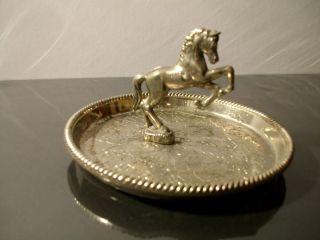 Antike Schmuck Schale Silver Plated Made In England Pferd Bild