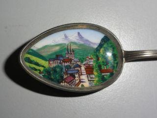 Andenkenlöffel 800er Silber Email Berchtesgaden Jugendstil Um 1900 Bild