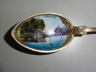 Andenkenlöffel 800er Silber Email Vergoldet Teilskapelle Schwe.  Jugendstil 1900 Bild
