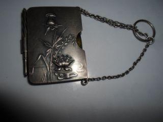 Sehr Kleines Notiz - Büchlein Mit Stift In Massiv 800 Silber - Etui Jugendstil Bild