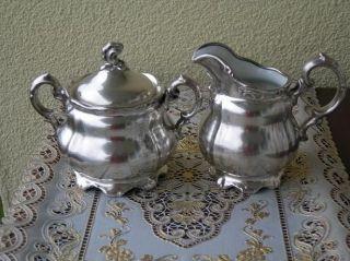 Antik Porzellan Versilbert Von Wmf Teekanne Milchkanne Und Zuckerdose Bild