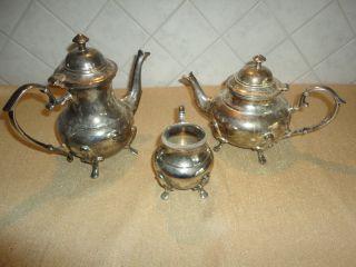 Versilberte Kaffeekanne Teekanne Milchkännchen 3 Teile Bild