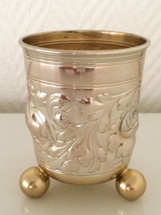 Silber 800,  Großer Silberbecher Auf Drei Füßen,  Innen Vergoldet,  Koch&bergfeld Bild