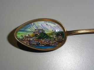 Andenkenlöffel 800er Silber Email Vergoldet Salzburg.  Jugendstil Um 1900 Bild