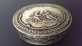 Rar Deckeldose Mit Schönem Puttendekor 800er Silber Hanau J.  S.  Kurz,  138 G Bild