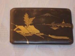 Antikes Zigarettenetui Aus Massivem Silber Und 24 Karat Gold Japan Bild