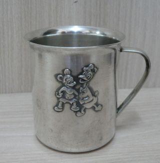 - - Silber Becher - Taufbecher Micky Maus / Donald Versilbert Wilkens Tasse Bild