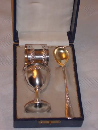 Antikes Silber Taufset,  Schön Verziert Bild