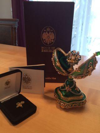 Faberge Juwelengarten Ei 925 Silber Von Franklin Smaragd Bild