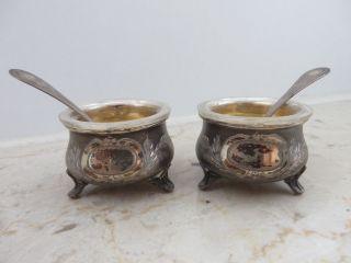 2 Silberschälchen Silber Salz - Und Pfefferschälchen 800er Silber Ca.  19jhdt. Bild