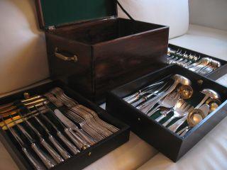 Besteckkasten F.  Mind.  300 Besteckteile Silberbesteck Holzkasten Tafelsilber Bild