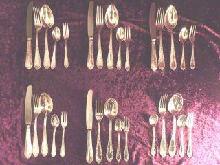 Besteck Rokoko 30 Teile Silber 100 90 Gabel Löffel Messer Versilbert Bild
