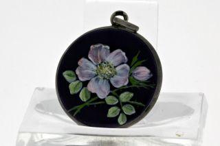 Silber Medaillon Zum Aufklappen Emailliert Handgemalt - Blumenmotiv - Um 1900 Bild