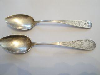 2 Schöne ähnliche Esslöffel 800 Silber Floral 1 X Mit Monogramm Mb Um 1900 Bild