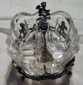 Wunderschöne Süsstoffschale Aus 835er Silber Mit Engelsputten Und Rosen Um 1950 Bild