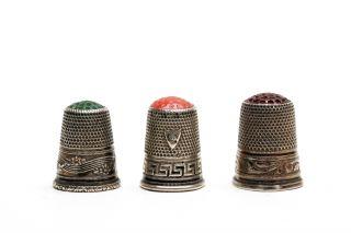 3 Fingerhüte / Thimble ´s,  19.  /20.  Jhdt.  Silver / Silber Bild