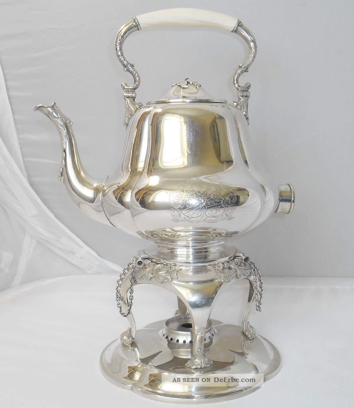 Großer Rokoko Wasserkessel Teekessel Mit Rechaud Aus Silber. Objekte vor 1945 Bild