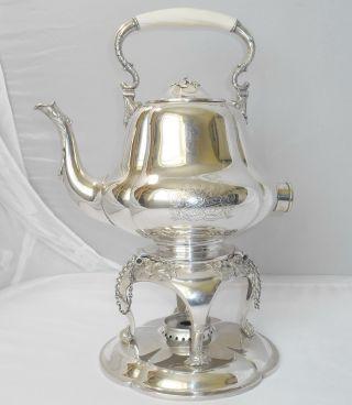 Großer Rokoko Wasserkessel Teekessel Mit Rechaud Aus Silber. Bild