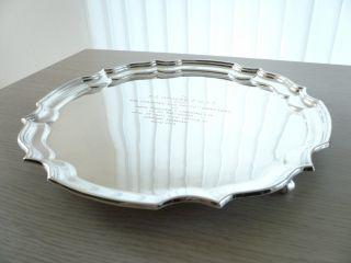 ♛ Schönes Englisches Rundes Silber - Tablett