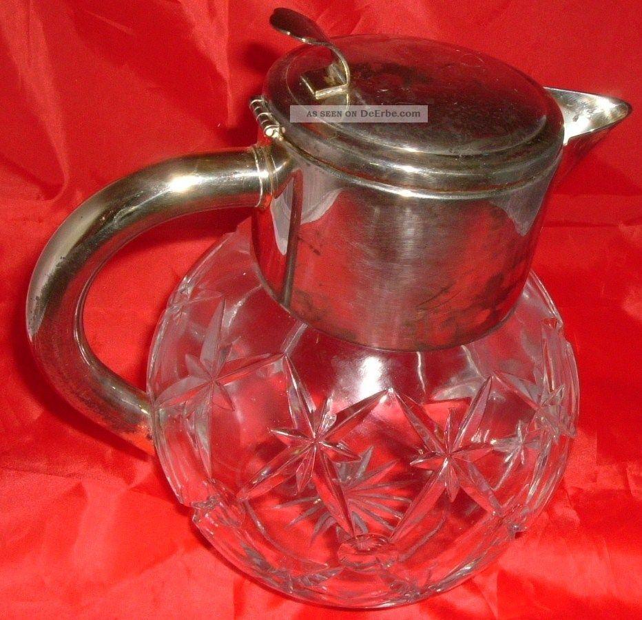 Alte Jugendstil Kanne Blei Kristall Karaffe 2,  8l Glas Kalte Ente Versilbert Objekte vor 1945 Bild