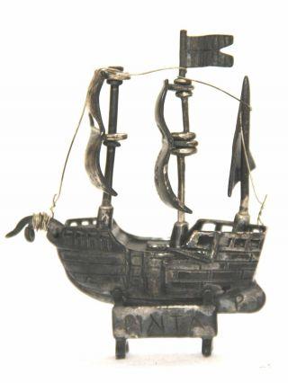 Segelschiff Pinta 800er Silber Juwelliersarbeit Um 1920 Gestempelt Bild