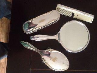 Silber Wmf 2200 Seltenes Spiegel/bürste/kamm/kleiderbürstenset Versilbert Bild