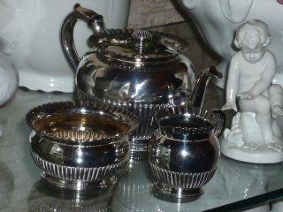 Antiker Kleiner Kaffeekern Queen Ann Stil Kanne Milch Zucker England Versilbert Bild