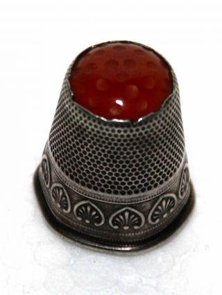 Antiker Fingerhut 800er Silber Mit Karneol (carneol) Gestempelt Bild