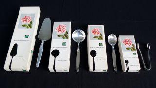4 Kaffee Besteckteile Seibel Kleeblatt Rose 1959 Versilbert 100er Silber Alpacca Bild
