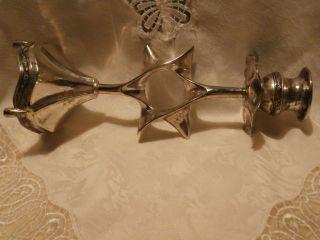Sehr Ausgefallen Antiker Judaica Kerzenleuchter Silber Jude Judentum Davidstern Bild
