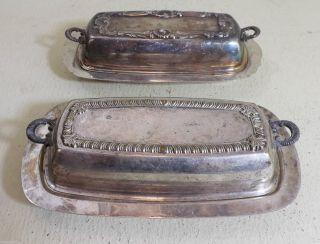 Butterdosen,  Versilbert - Ca.  1930,  Usa - 2 Stk.  Mit Schönen Verzierungen Bild