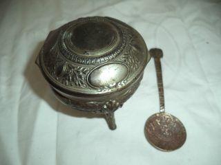 Zuckerdose / - Löffel (gemarkt) Silber ? / Versilbert 19.  Jh. Bild