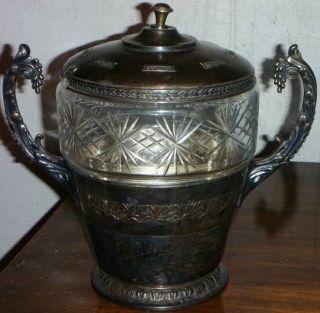 Alte Jugendstil Bowle Mit Glaseinsatz Um 1910,  Versilbert Bild