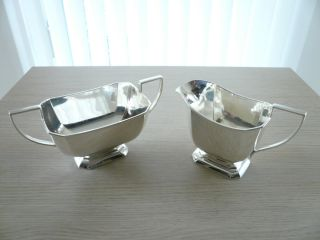 ♛ Englisches Silbernes Art Deco Milch - U Zuckerset
