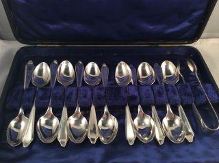 12 Löffel Mit Zuckerzange,  Art Deco,  England 1930,  925 Silber Bild