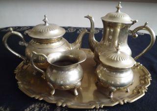 Tee Kaffee Kerngedeck Mit Tablet Silber Versilbert,  Jugendstil,  über 2 Kg Schwer Bild