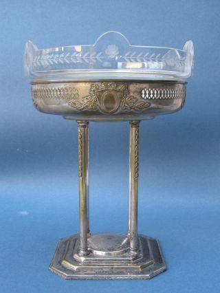 Antique Jugendstil Tafelaufsatz Metall Versilbert Gemarkt Agentor Glaseinsatz Bild
