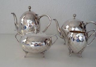 Antikes Traumhaftes Art Deco Kaffee/teeservice 4 Teilig Versilbertes Gemarktet Bild