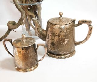Alte Teekanne Und Zuckerdose Jungendstil Versilbert Bild