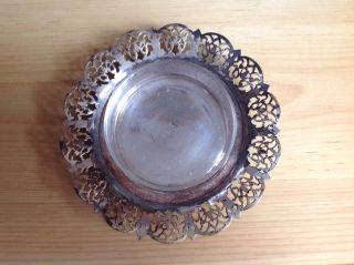 Silberteller Mit Glas Schale / Glasbehälter Schälchen Antik Bild