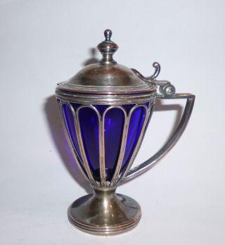Wmf Jugendstil Saliere Zuckerdose Versilbert Amphore Kobaltblaues Glas Ab 1910 Bild