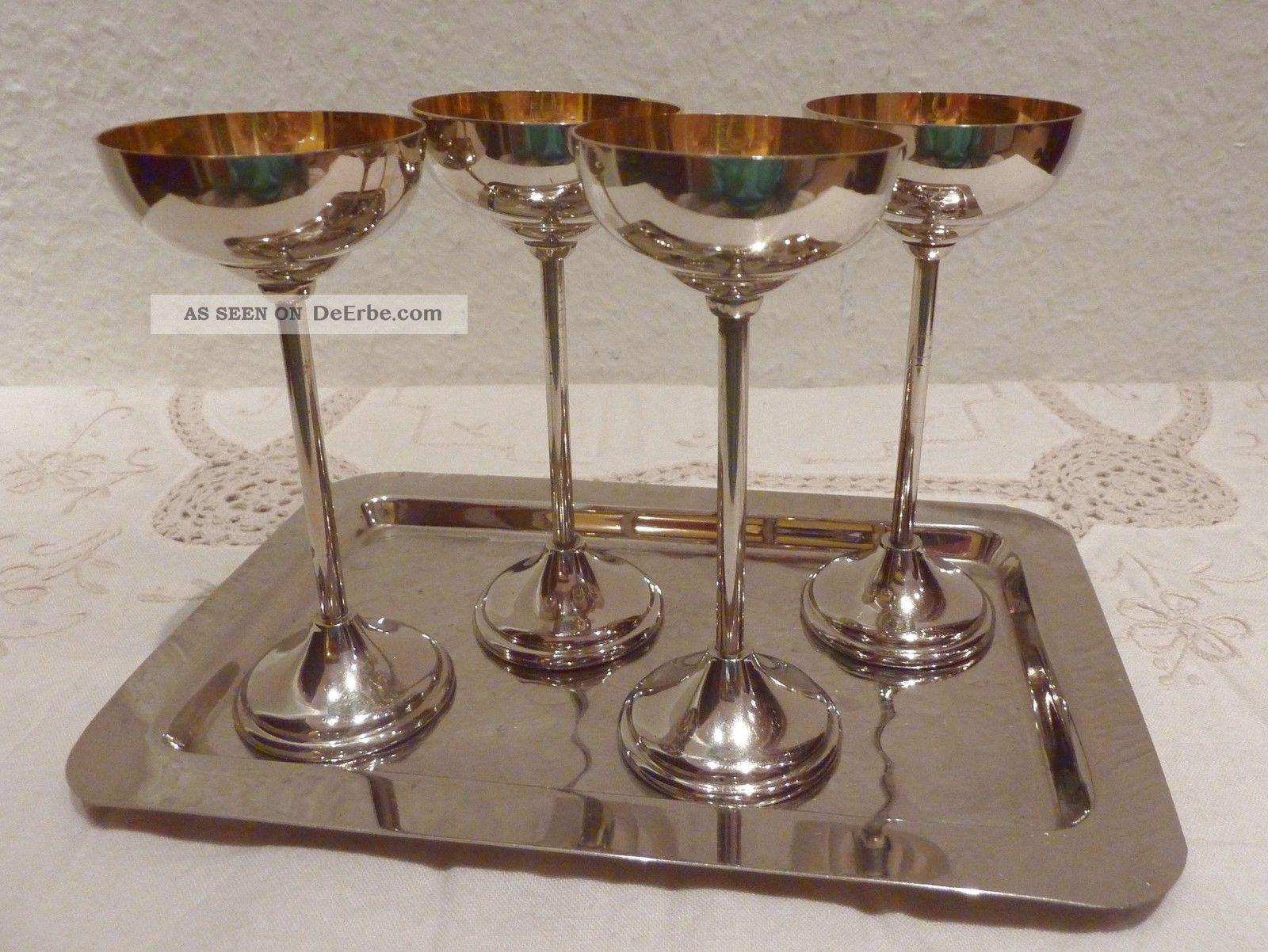 4 Elegante Art Deco Likörbecher Kelche 4 Personen Um1930 Eisbecher Schnapsbecher Objekte vor 1945 Bild