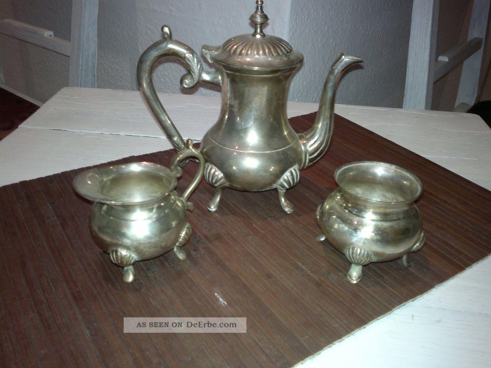 Kaffeekanne,  Teekanne,  Zuckerdose,  Silber,  England,  Dachbodenfund,  Kellerfund Objekte vor 1945 Bild