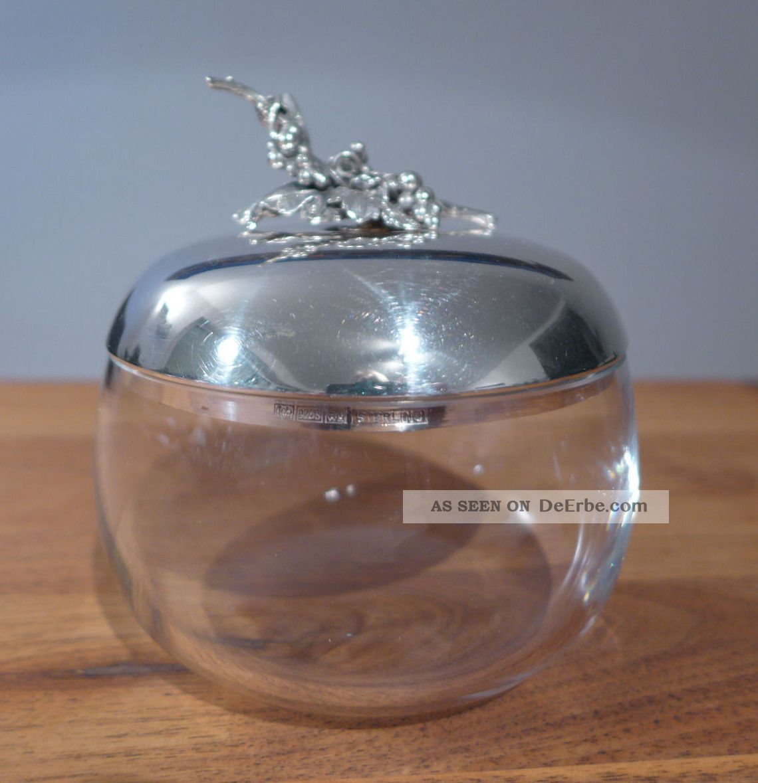 bonbonni re bonboniere schale aus glas mit deckel aus 925 sterling silber. Black Bedroom Furniture Sets. Home Design Ideas