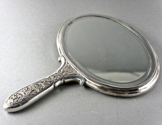 Bezaubernder Handspiegel,  Oval,  Jugendstil,  Versilbert,  Monogramm