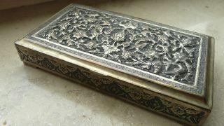 Alte Silberne Persische Dose Bild