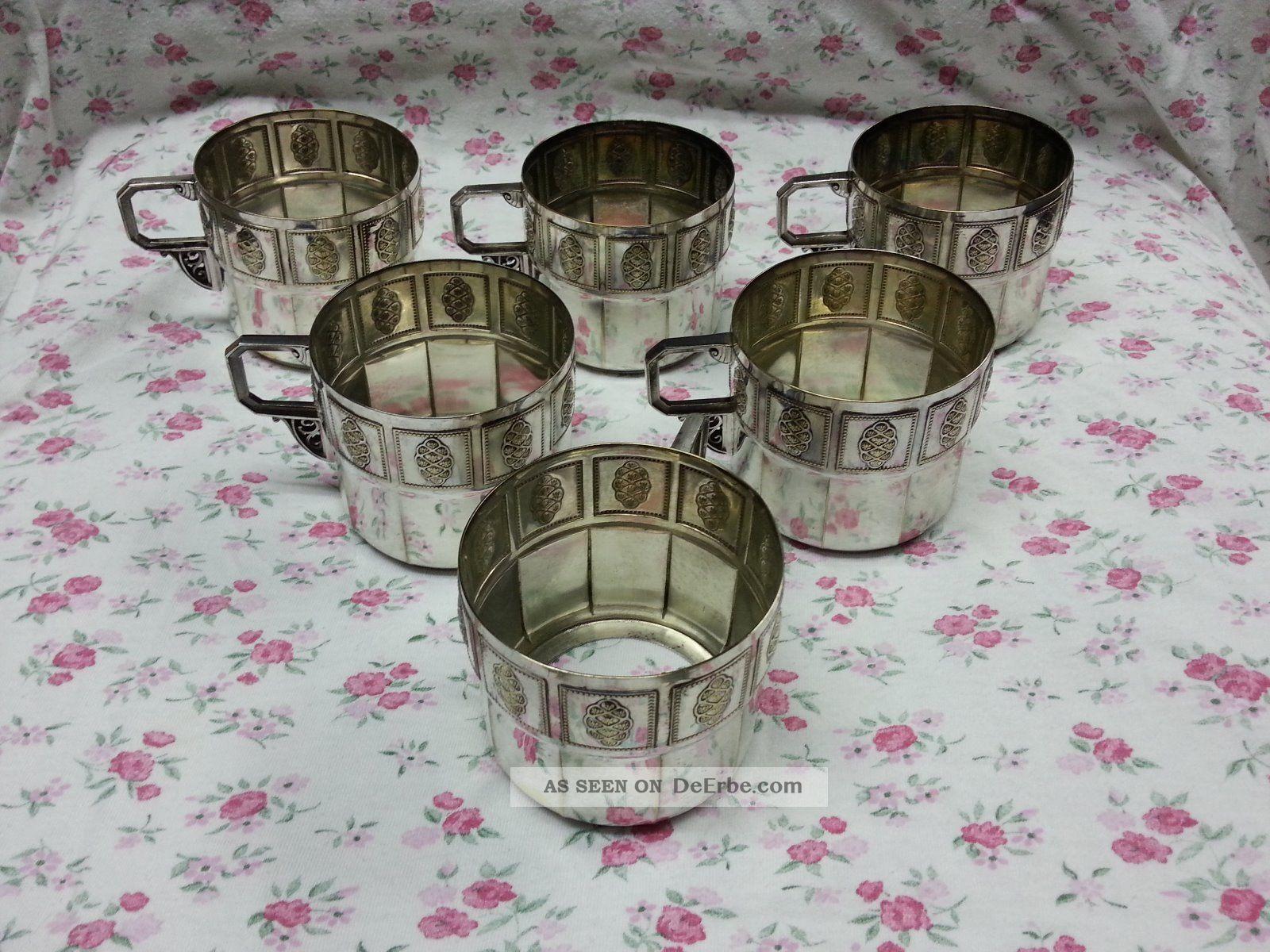 6 Alte Jugendstil - Wmf Teeglashalter Straußenmarke Objekte vor 1945 Bild