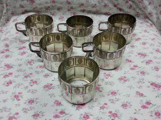 6 Alte Jugendstil - Wmf Teeglashalter Straußenmarke Bild